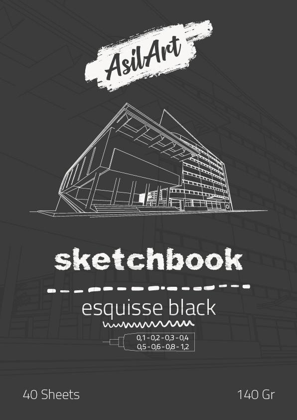 ASİLART SKETCHBOOK(ESKİZ DEFTER) -ESQUİSSE BLACK- 40YAPRAK -140GR-A3