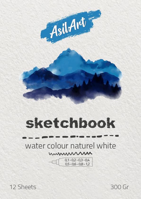 ASİLART SKETCH(ESKİZ) -WATER COLOUR NATUREL WHİTE-12YAPRAK-300GR-A3
